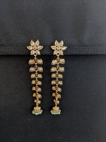 Mehandi Gold plated Long Dangle Polki Jhumka Earrings