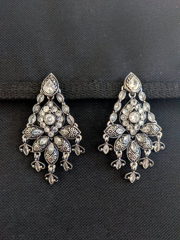 Black metal / Silver plating CZ stone Designer Earrings
