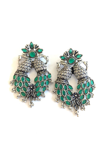 Dual Peacock Black metal / Silver plating CZ stone Designer Earrings