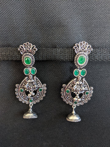 Goddess Lakshmi Black metal / Silver plating CZ stone Earrings