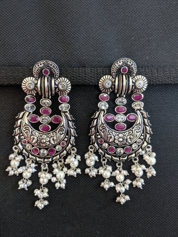 Chandbali Large Black metal / Silver plating CZ stone Earrings