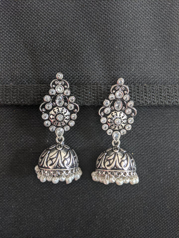 Black metal / Silver plating CZ stone Jhumka Earrings