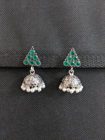 Small Jhumka / Black metal / Silver plating CZ stone Jhumka Earrings