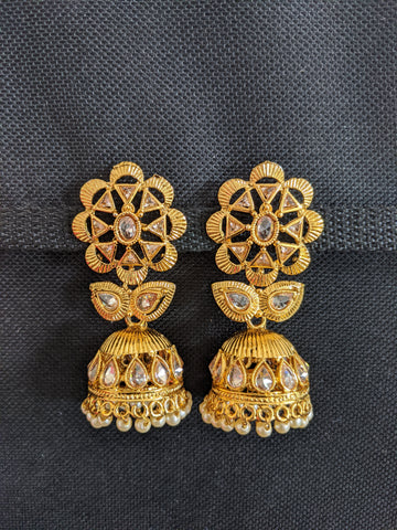 Flower stud with Jhumka Earrings - Honey yellow Polki stone