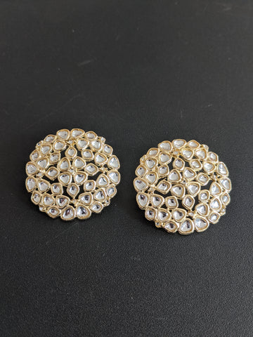 Kundan like stone embedded Large Stud Earrings