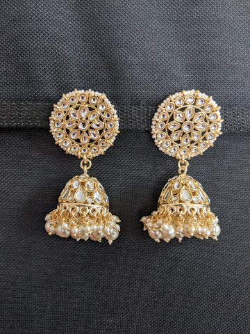 Kundan like stone pasted Large Jhumka Earrings