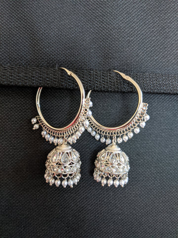 Silver rhodium plated Ring Bali Jhumka Earrings