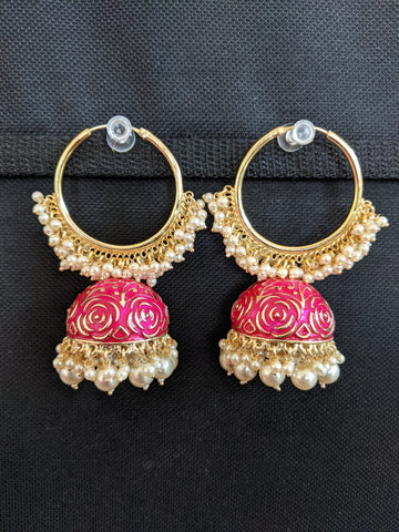 Enamel Jhumka with Large Hoop Earrings - Dark Colors