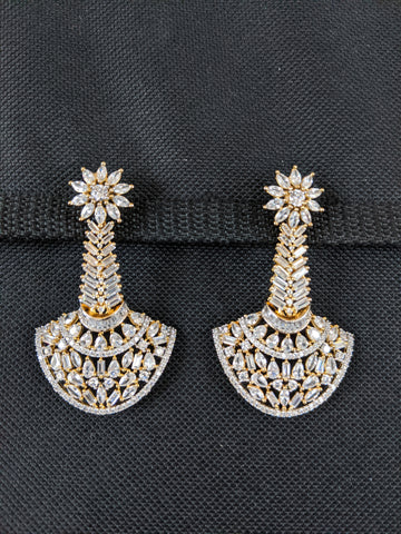 One gram gold White CZ Designer Earrings