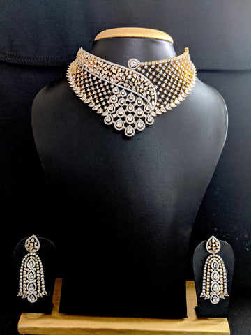 Grand one of a kind white CZ stone Choker Necklace and Earrings set