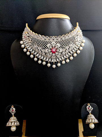 Diamond look alike Grand Choker Necklace and Jhumka Earrings set