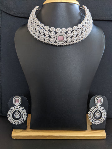 White gold Bold Statement Choker Necklace and Earrings Set