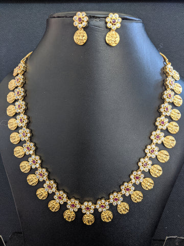 Ram Parivaar Charm Necklace and Earring set with CZ stone