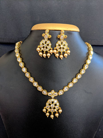Traditional adigai style CZ stone choker necklace and earring set - One gram gold polished