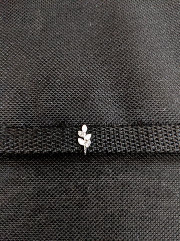 Tiny Leaf design Clip on Nose Pin  - Platinum finish