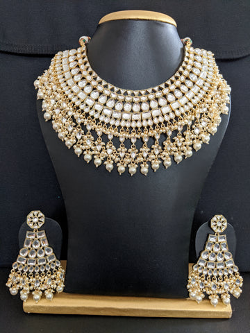 Statement Yellow gold Kundan stone Choker Necklace and Large Earrings set