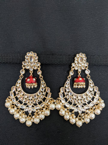 Pearl cluster bead dangling Kundan Chandbali Earrings