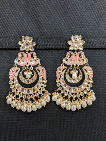 Pearl bead dangling Kundan Peacock Chandbali Earrings
