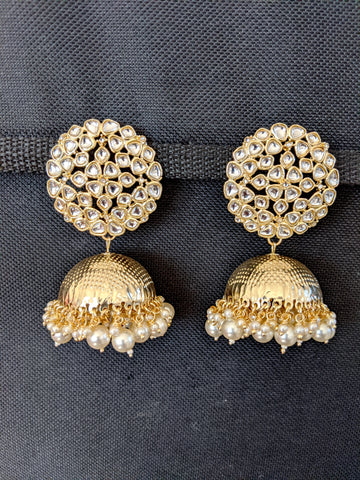 Pearl cluster bead dangling Large Kundan Jhumka Earrings