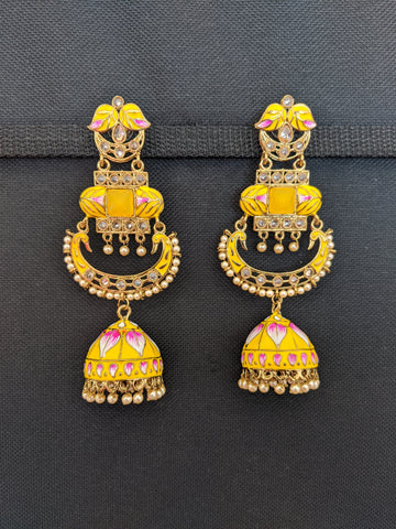 Mehandi gold plated Enamel work Long Chandbali Jhumka Earrings