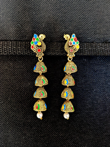 Multi jhumka hanging Peacock design antique gold Earrings