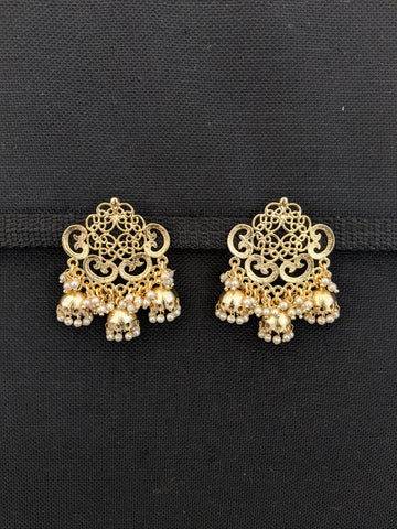 Filigree style pearl clustered Large Stud with jhumka Earrings