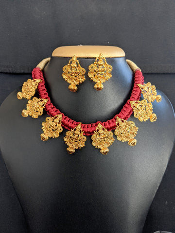 Cotton dori thread Necklace with Goddess Lakshmi Charm Jewelry Set