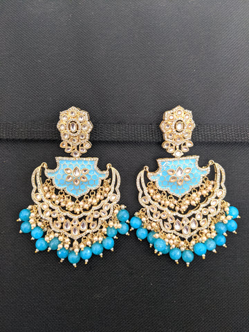 XXL size Chandbali Gold Imitation Kundan Earrings
