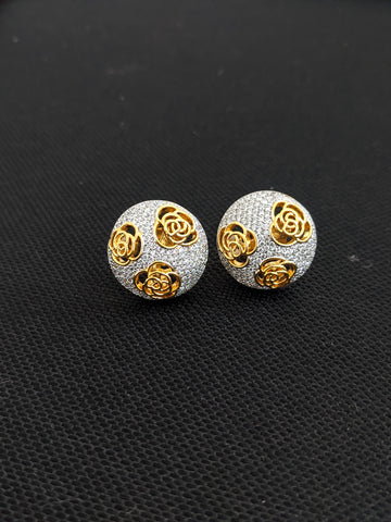 Rose flower design one gram gold zirconia Stud Earrings