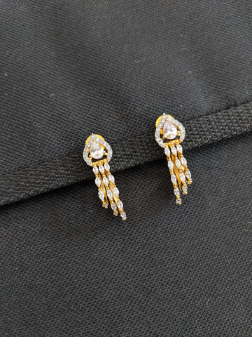 Trendy 3 line oval design CZ Dangle Earrings