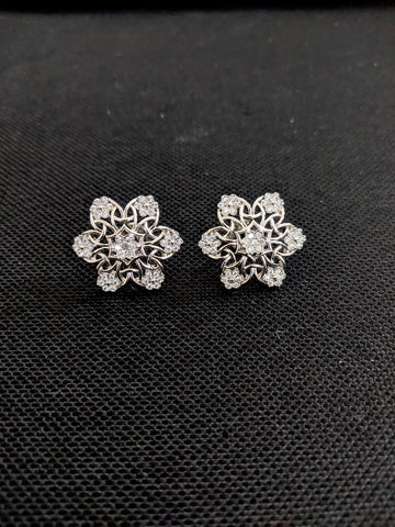 Snowflakes design CZ Stud Earrings