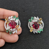 Multi color CZ stone Stud Earrings - Design 2