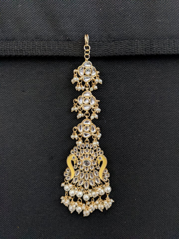 XL Peacock design Kundan like stone embedded Enamel work Maang Tikka