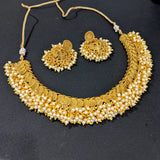 Pearl cluster bead dangle Chakri design Choker Necklace and Jhumka Earrings set