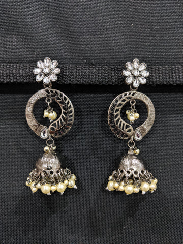 Black plating Half n Half Jhumka Earrings