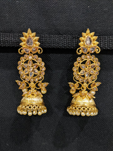 Long Dangle Antique gold plated Polki Jhumka Earrings