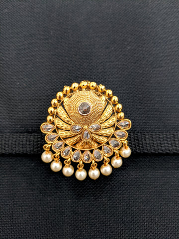 Traditional Gold plated bead dangling Round Brooch