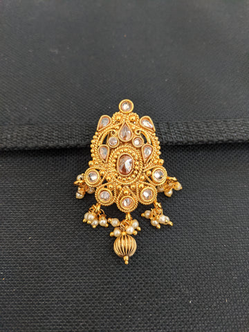 Designer Gold plated bead dangling Polki stone Brooch
