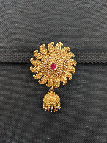 Mango design Traditional Gold plated jhumka dangling Large Brooch