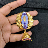 Chakri flower design Traditional Gold plated jhumka dangling Large Brooch