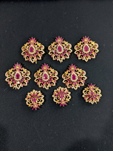 CZ stone Clip on Hair clips for Plaits - One gram gold plated - Flower Design