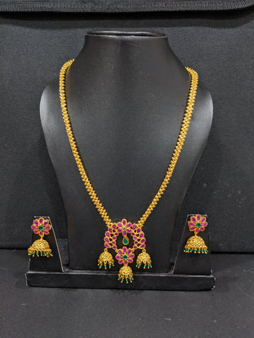 Flower design Micro gold polished CZ stone Pendant Necklace and Jhumka Earrings set