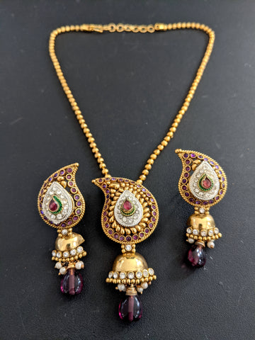 Mango design Pendant and Jhumka Earrings Set