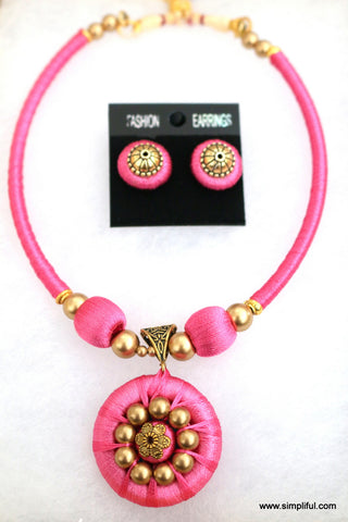 Silk Thread Choker Necklace and Stud Earring set - Single Color - Simpliful