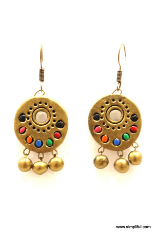 Terracotta Multi color Ramleela Style Hook drop Earring - Simpliful
