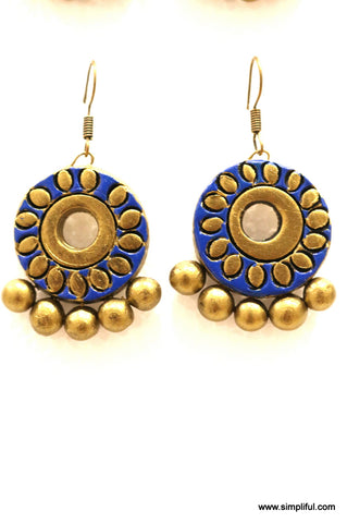 Terracotta Drop Ramleela Earring - Flower Design Medium size - Simpliful