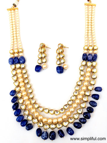 Multi layered Kundan and pearl Necklace and Earring set - Simpliful