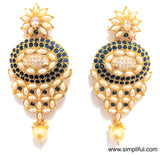 Grandeur CZ n Polki stone with Pearl Long Imitation Earring - Simpliful