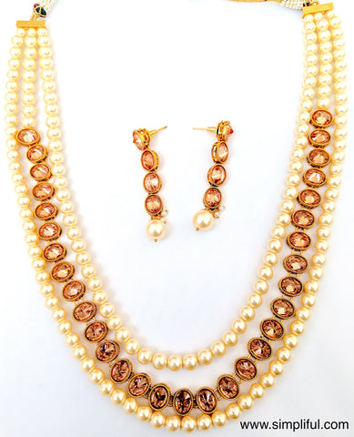 Triple stranded honey yellow stone and pearl Necklace and Earring set - Simpliful