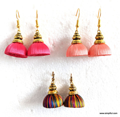 Silk Thread Kalasam Gold cap small Jhumka Hook Drop Earring - Simpliful